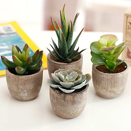 Assorted Decorative Artificial Succulent Plants with Gray Pots, Set of 4 (Decoration Shelf)