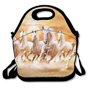 Horse6 Waterproof Reusable Neoprene Lunch Bags With Adjustable Shoulder Strap For Men Women Adults Kids Toddler Nurses