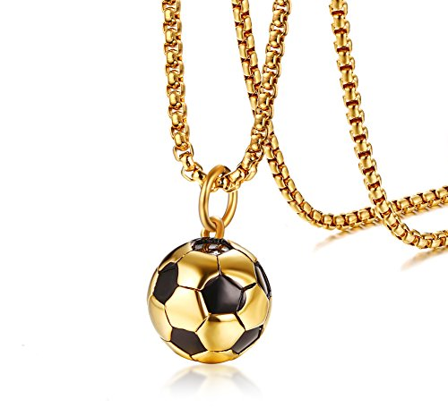 Two-Tone Gold Plated Stainless Steel Football Soccer Pendant Necklace for Men Boys,Sports Jewelry Gift ()