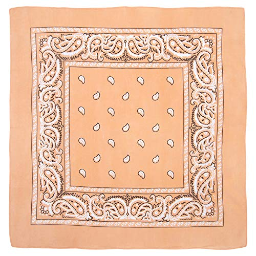 - Large 100% Cotton Paisley Bandanas (22 inch x 22 inch) - Peach Dozen Packed 22x22 - Use For Handkerchief, Headband, Cowboy Party, Wristband, Head Scarf - Double Sided Print
