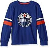 NHL Edmonton Oilers Long Sleeve Tee with Double Arm Stripes, Small, Royal