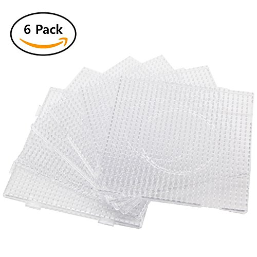 H&W 6PCS 5mm Fuse Beads Boards, Large Clear Pegboards Kits, with Gift 4 Lroning Paper (WA3-Z6) by H&W