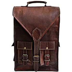 "Jaald convertible leather 15.6"" laptop bag backpack messenger bag satchel briefcase"