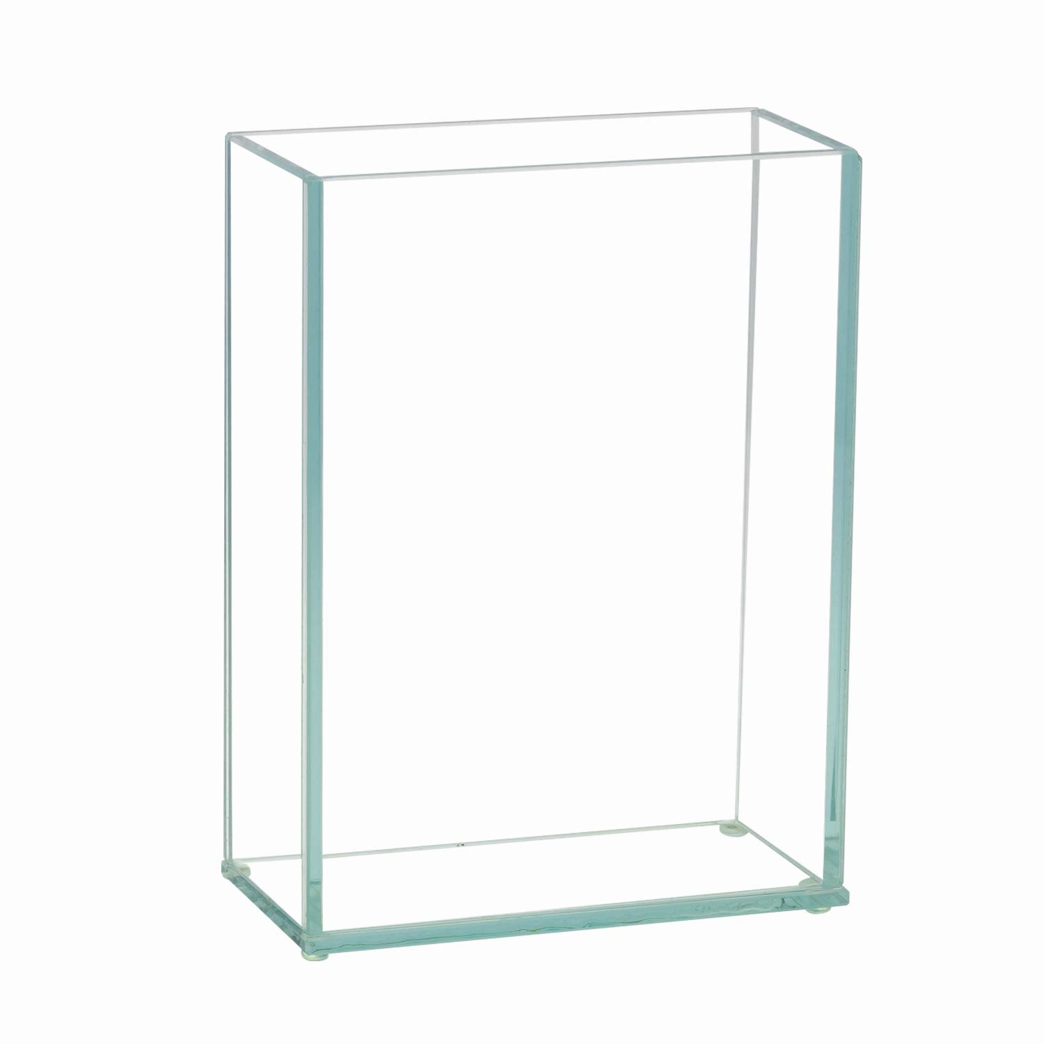"""Royal Imports Flower Glass Vase Decorative Centerpiece for Home or Wedding Flat Rectangle Plate Glass, 6"""" W x 8"""" H, Clear"""