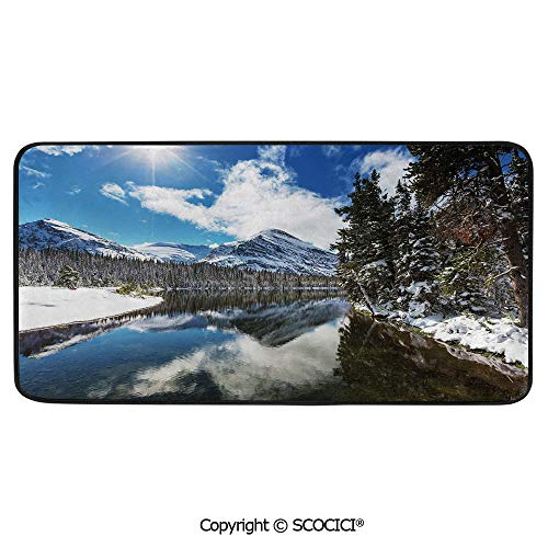 (Rectangle Rugs for Bedside Fall Safety, Picnic, Art Project, Play Time, Crafts, Large Protective Mat, Thick Carpet,Winter,Tranquil View of Glacier National Park in Montana Water,39