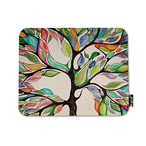 Mugod Tree of Life Mouse Pad Colorful Tree Psychedelic Forest Pink Blue Green Leaf Mouse Mat Non-Slip Rubber Base Mousepad for Computer Laptop PC Gaming Working Office & Home 9.5x7.9 Inch