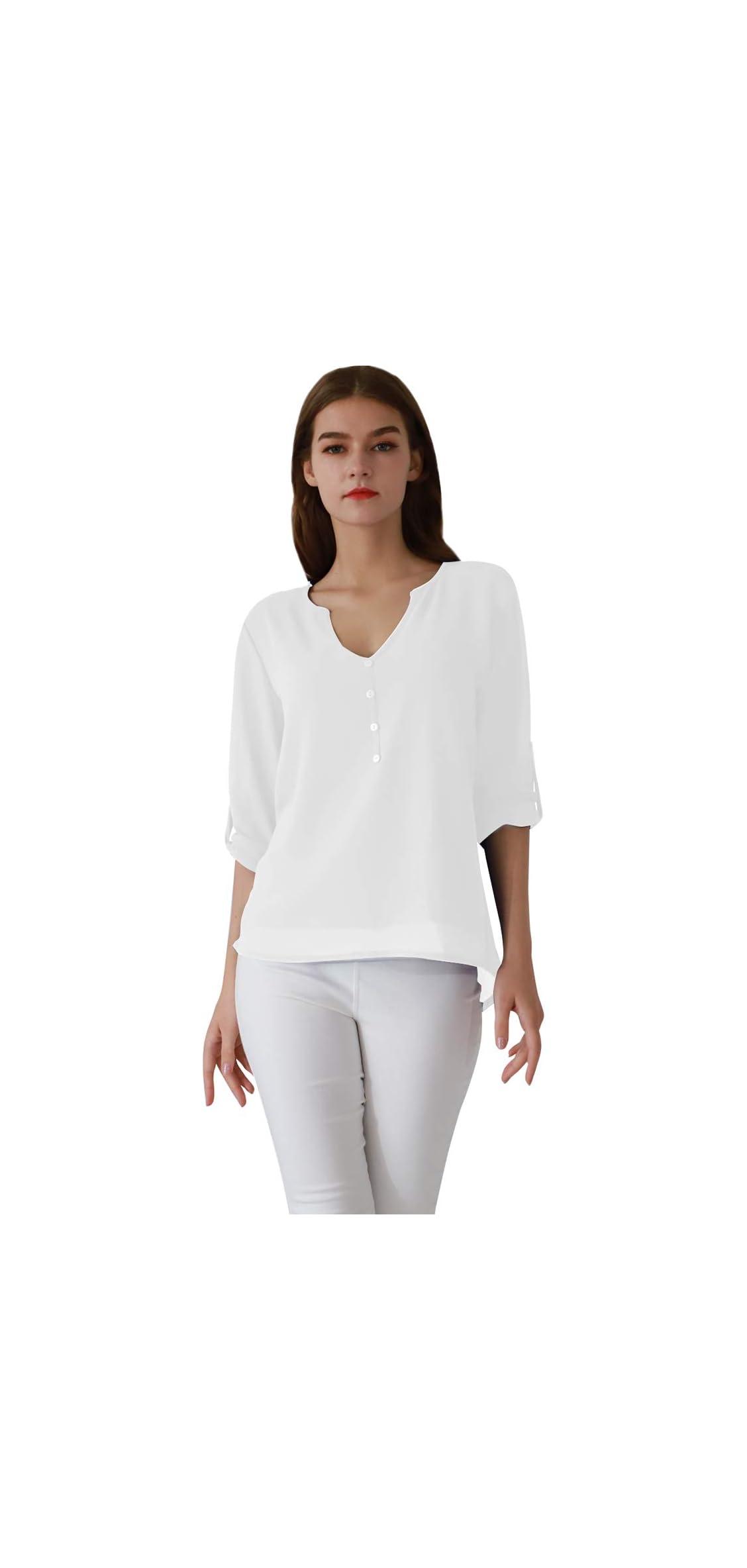 Women's Casual Chiffon Button V Neck Blouses Shirts Long
