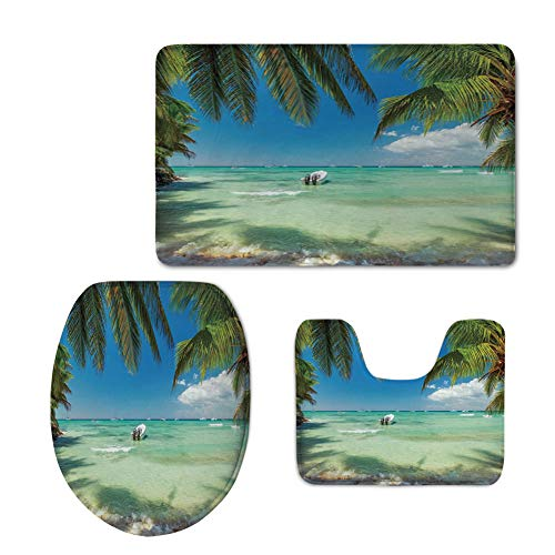 iPrint Fashion 3D Baseball Printed,Tropical,Surreal Sea Surrounded by Palm Tree Leaves Scenic Nature Summertime,Fern Green Turquoise Blue,U-Shaped Toilet Mat+Area Rug+Toilet Lid Covers 3PCS/Set -