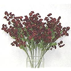 12 Baby'S Breath Spray Wine Burgundy Gypsophila Silk Wedding Flowers Centerpiece