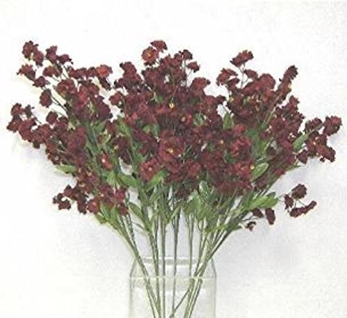 12 Baby'S Breath Spray Wine Burgundy Gypsophila Silk