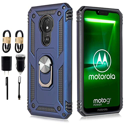 for Motorola Moto G7 Power Case Drop Protection Rotating Ring Kickstand Holder Magnetic Car Mount Armor Shockproof Cover with Tempered Glass Screen [Accessory Pack] (Navy)