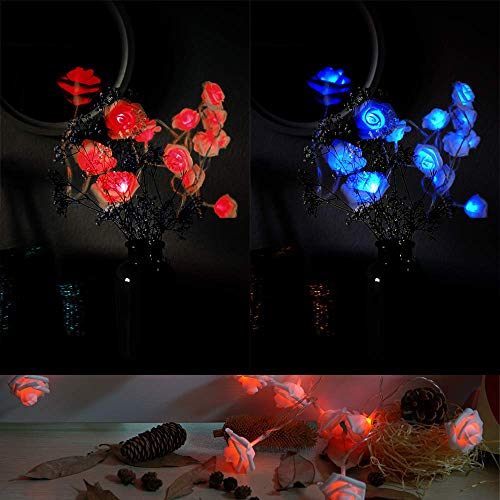 Rose Lights, 10ft 20 LEDs Colorful Rose Flower Fairy String Lights with Battery Operated Remote Control for Valentine's, Party, Wedding, Bedroom,Baby's Room, Indoor Decoration, Christmas(Blue&Red)
