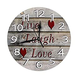 Carwayii Live Laugh Love Wooden Floor Wall Clock Silent Non Ticking Clocks Durable Delicate Decorative Clocks with Arabic Numbers Premium Round Clock 9.84Inch Quiet Desk Clock for Indoor Decor