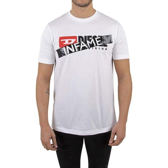 Diesel 00SWCM 0CATJ Camiseta Hombre Blanco S: Amazon.es: Ropa y accesorios