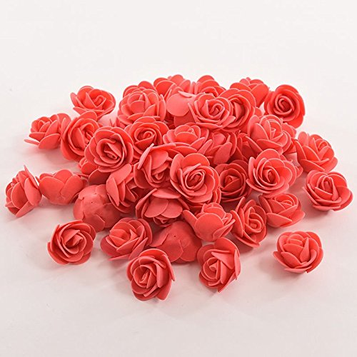 50Pcs Foam Roses Artificial Flower DIY Wedding Bride Bouquet Party Decor (off-white color) flower in rain