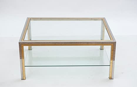 Tavolino Cristallo Ottone.Tavolino Da Salotto Made In Italy Anni 70 Trasparente Ottone