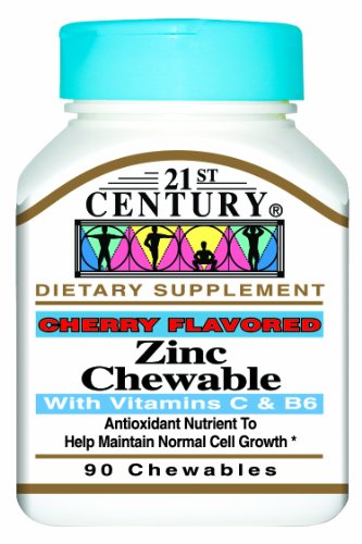21st Century Zinc Chewable with C and B6, Cherry Chew, 90 (Chewable Zinc Vitamins)