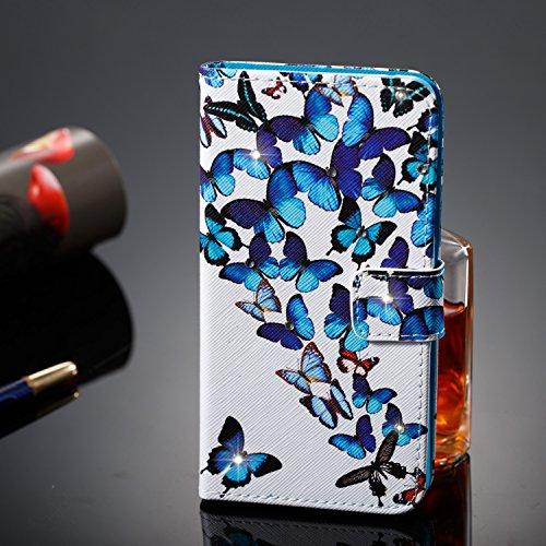Hülle für Huawei Y5 II,Huawei Y5 II Schutzhülle,Huawei Y5 II Handyhülle Lederhülle,Hpory Luxus Bling Kristall Glitzer Strass Diamant Colorful Painting PU Leather Ledertasche Lederhülle Brieftasche im  Schmetterlingen
