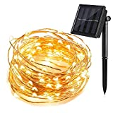 T HomeLight Solar Power String Light 100FT / 300Leds ON/OFF Flash 2 Mode Copper Decor Led Light, Patio, Yard, Travel, Motor Home Warm White