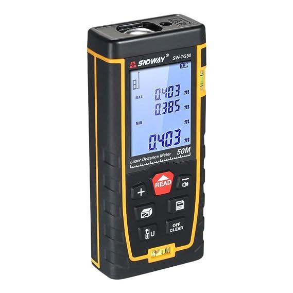 Télémètre distance Infrarouge avec buzzer,SNDWAY Mètre de distance poche la-ser numerique Sans fil pour décoration, réparation-50m/70m/100m/120m