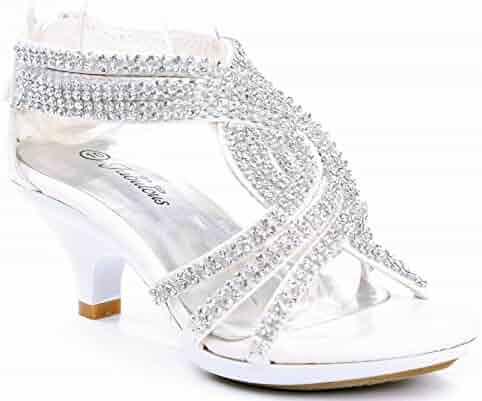 1bb080242 JJF Shoes Fabulous Angel-37K Little Girls Bling Rhinestone Platform Dress  Heels Sandals