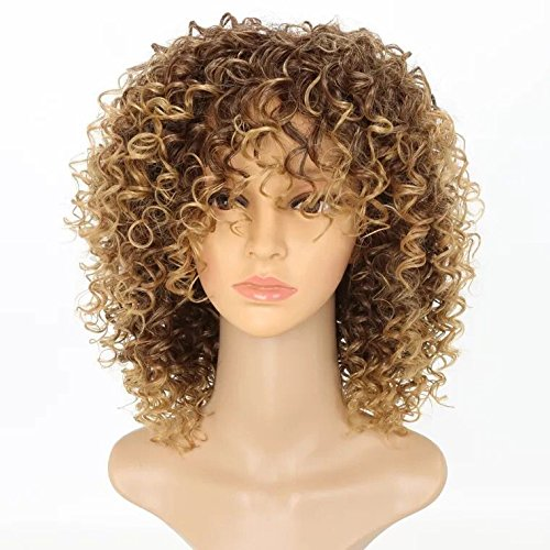 Search : OMG Hair Two Tone Ombre Short Deep Curly Synthetic Wig For Women African American Wigs Natural Hair 16 Inch T27/33