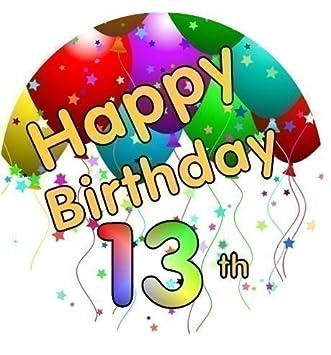 Happy 13th Birthday Cake Topper sugar icing 7.5