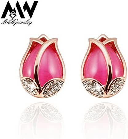 Chokushop Top Quality Pink Opal Stone Tulip Flower Rose Gold Plated Stud Earrings Made with Genuine Austrian Crystal