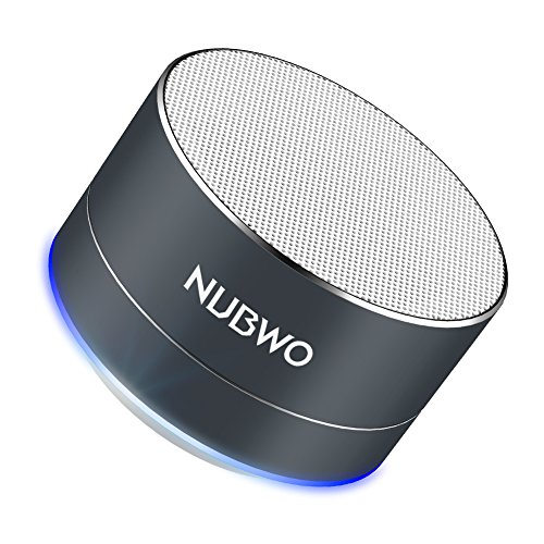 Bluetooth Speaker, NUBWO Mini Portable Outdoor/Sport / Car Aluminium Alloy Speakers - with Built-in Mic, AUX Line, TF Card, Enhanced Bass for iPhone iPad Android Phone and More (Black) by NUBWO