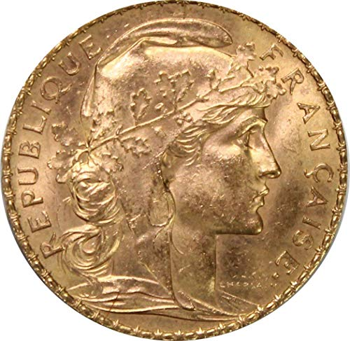 - 1899 FR -1914 French Rooster Gold Coin *Random Year* 20 Francs AU