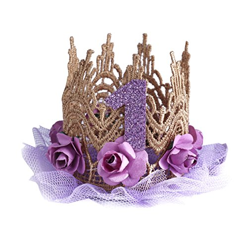 iiniim Kids Baby Lace Rose Flower Sparkly 1st Birthday Crown Princess Party Hat Hairbands Purple One Size