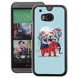 A-type Arte & diseño plástico duro Fundas Cover Cubre Hard Case Cover para HTC One M8 (Blue Elephant Nature Moon Animal)