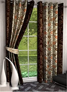 db18551235c1 Saawaan Printed Window Curtain 5 Feet Pack of 2 Curtains