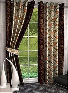 db18551235c1 Saawaan Printed Window Curtain 5 Feet Pack of 2 Curtains
