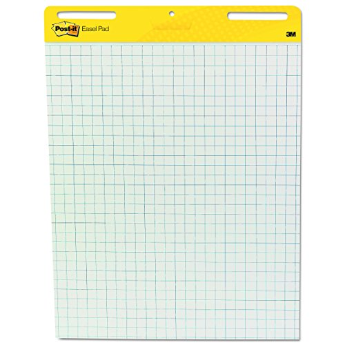 Post-it Easel Pads 560 Self Stick Easel Pads, Quadrille, 25 x 30, White, 30-Sheet Pads (Case of 2 Pads) (Blue Grid Paper)