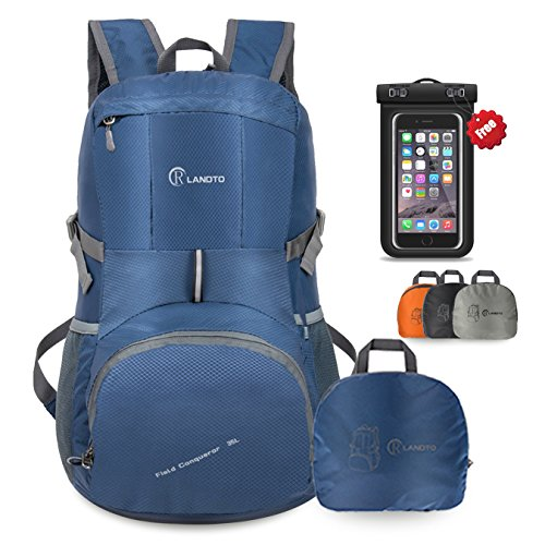 35L Lightweight Camping Backpack Outdoor Hiking Day Pack, Packable Travel Backpacks with Waterproof Case