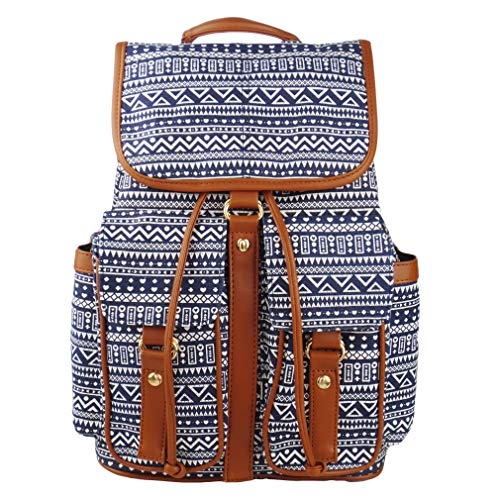 Imiflow Casual Backpacks Canvas Leather Travel College Backpack Purse for Girls 005 Pattern ()