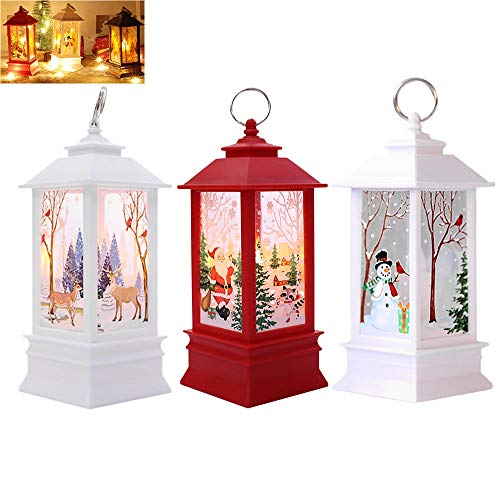 - Set of 3 Christmas Lighted Snow Globe Lantern, Battery Operated Holiday Water Glittering Snowman Candle Decoration (Multicolor)