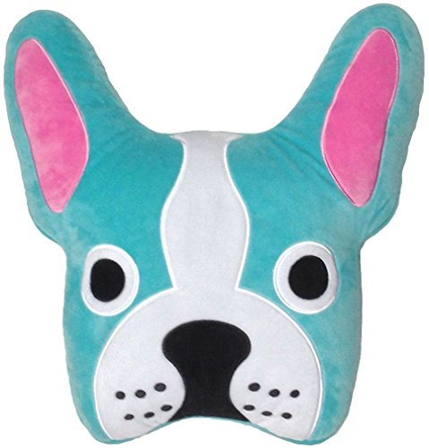 iscream French Bleu Bulldog Shaped 17 x 17 Fleece Microbead Accent Pillow with Embroidered Accents