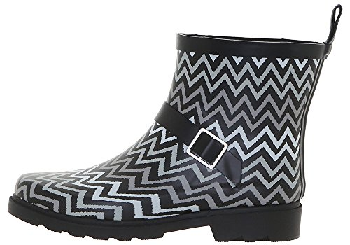 Capelli New York Chevron Printed Ladies Short Rubber Rain Boot Black Combo ZqefO