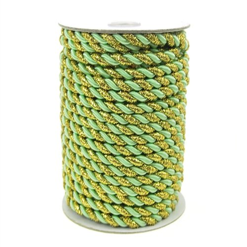 (Homeford Firefly Imports Twisted Cord Rope 2-Ply, 6mm, 25 Yards, Gold Trim, Mint Green)