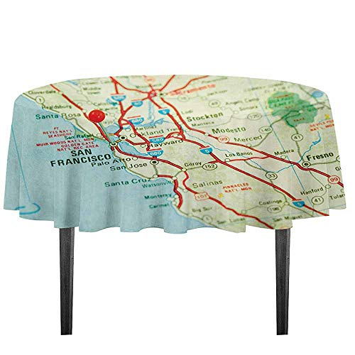 Map Printed Tablecloth Vintage Map of San Francisco Bay Area with Red Pin City Travel Location Outdoor and Indoor use D35.4 Inch Pale Blue Pale Green Red