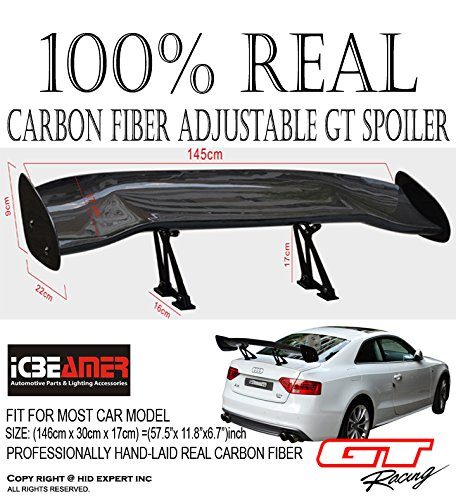 ICBEAMER RACER STYLE CARBON FIBER GT STYLE 57 inch RACING REAR/BACK TRUNK (00 Honda Civic Rear Trunk)