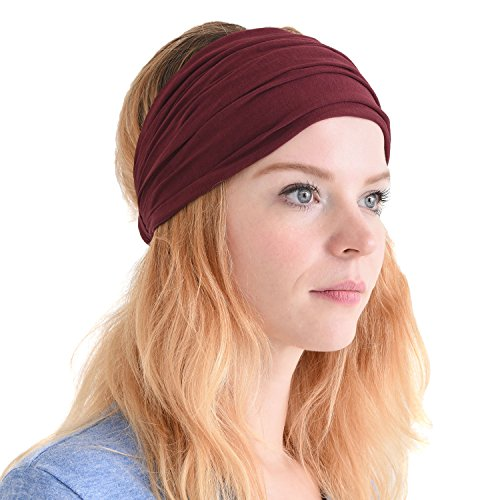Casualbox mens Head cover Band Bandana Stretch Hair Style Japanese (Maroon Bandana)