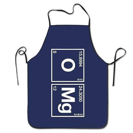 Kitc Funny oxígeno y Magnesio OMG tabla periódica blanco Funny Unisex delantal para barbacoa con borde