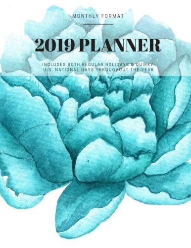 2019 Planner: Blue Cabbage Roses Monthly Calendar Format for sale  Delivered anywhere in USA