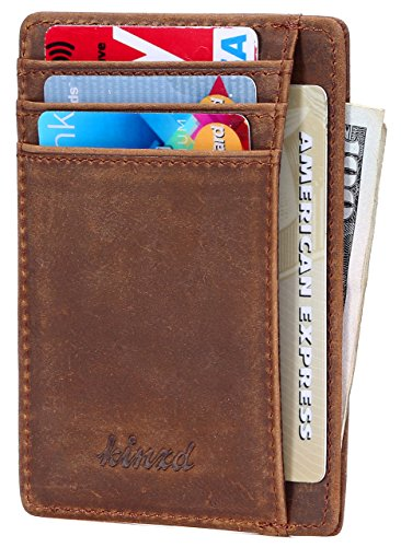 Slim Wallet RFID Front Pocket Wallet Minimalist Secure Thin Credit Card Holder (Crazy Horse Leather)