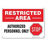 Restricted Area Sign, Large Rust Free 10x7