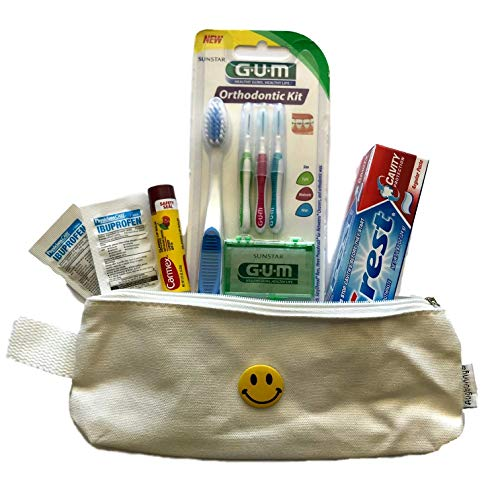 Orthodontic Kit For School & Travel! Includes Canvass Bag, Gum Brand Toothbrush, Flossers, Wax, Go-Betweens, Ibuprofen, Chapstick, Toothpaste, Smile Button! Make At-School Braces Care Easy! (White)