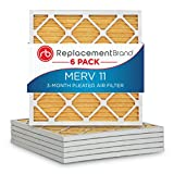 ReplacementBrand 20x20x1 MERV 11 Air Filter / Furnace Filter (6 Pack)